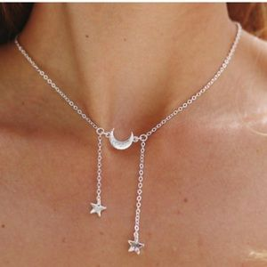 NWOT Silver Star & Moon Necklace